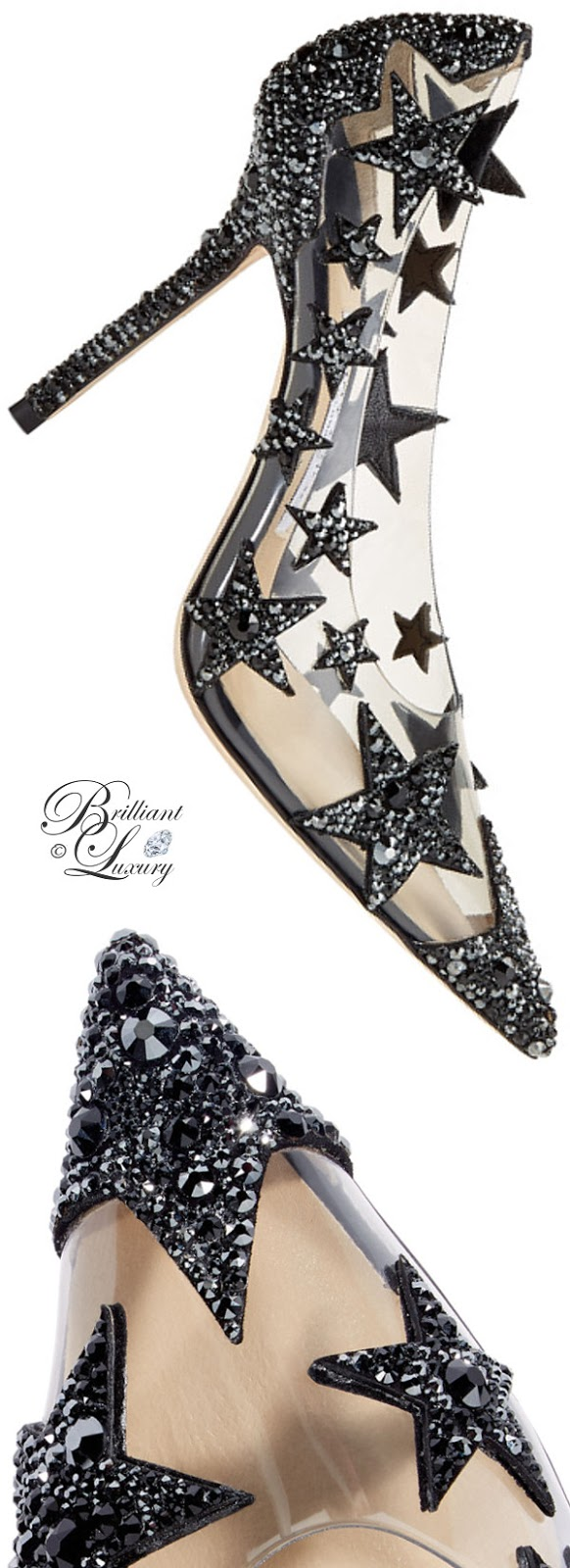 optimized pins Brilliant Luxury ♦ Jimmy Choo Lisha Black and Smoke Mix Plexi Star Patchwork Pointy Toe Pumps with Crystals #brilliantluxury