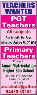 Annai Matriculation Higher Sec School Wanted Teachers-PGT
