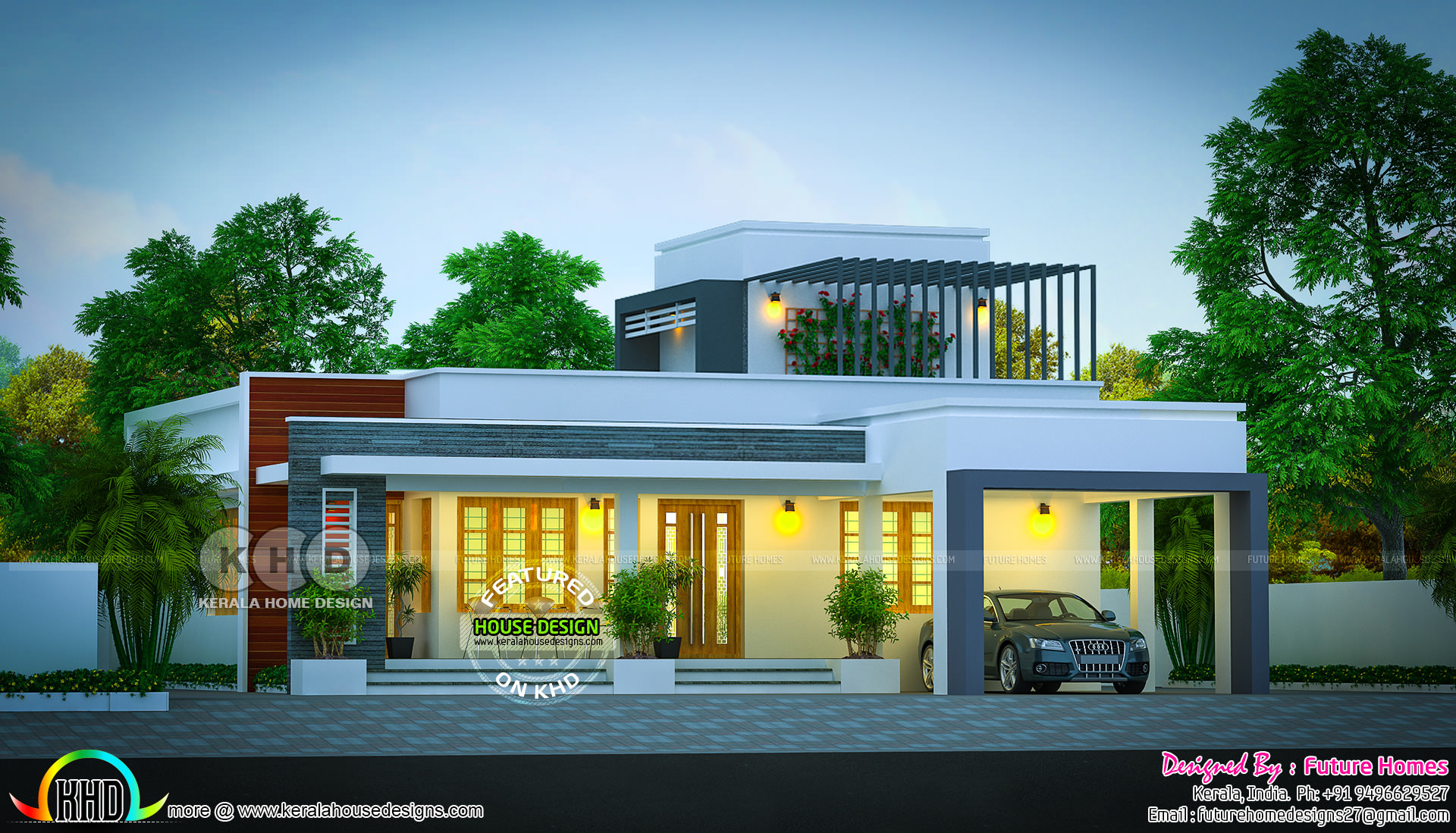 May 2018 Home Flat Roof Single Storied House Kerala Home Design Bloglovin
