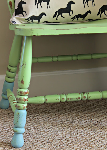 green apple spray painted chair