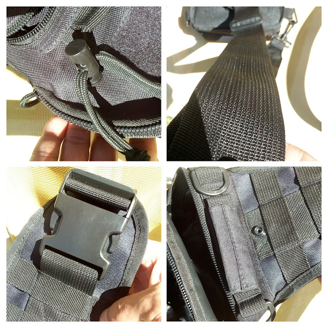 GearBest Crossbody Sling Bag - A four picture collage of the shoulder strap, drag handle, molle system and clasp.