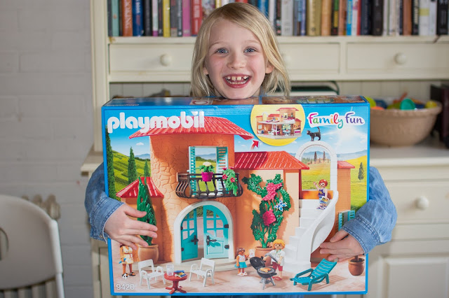 A 7 year old excited to be reviewing the Playmobil Summer Villa