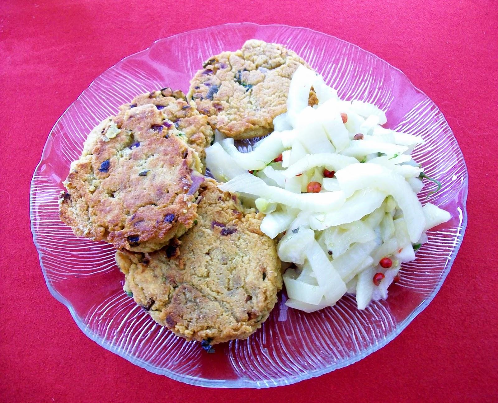 - Veganes Fenchel-Gemüse  (Griechenland) mit Kichererbsen-Laibchen (veganes Rezept für 2 Personen) -  hautpspeise