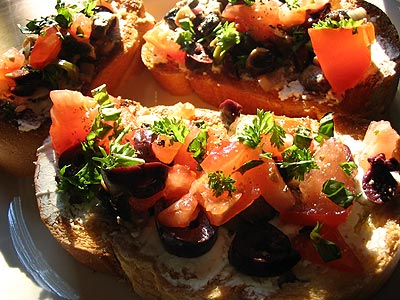 Olive and Goat Cheese Bruschetta