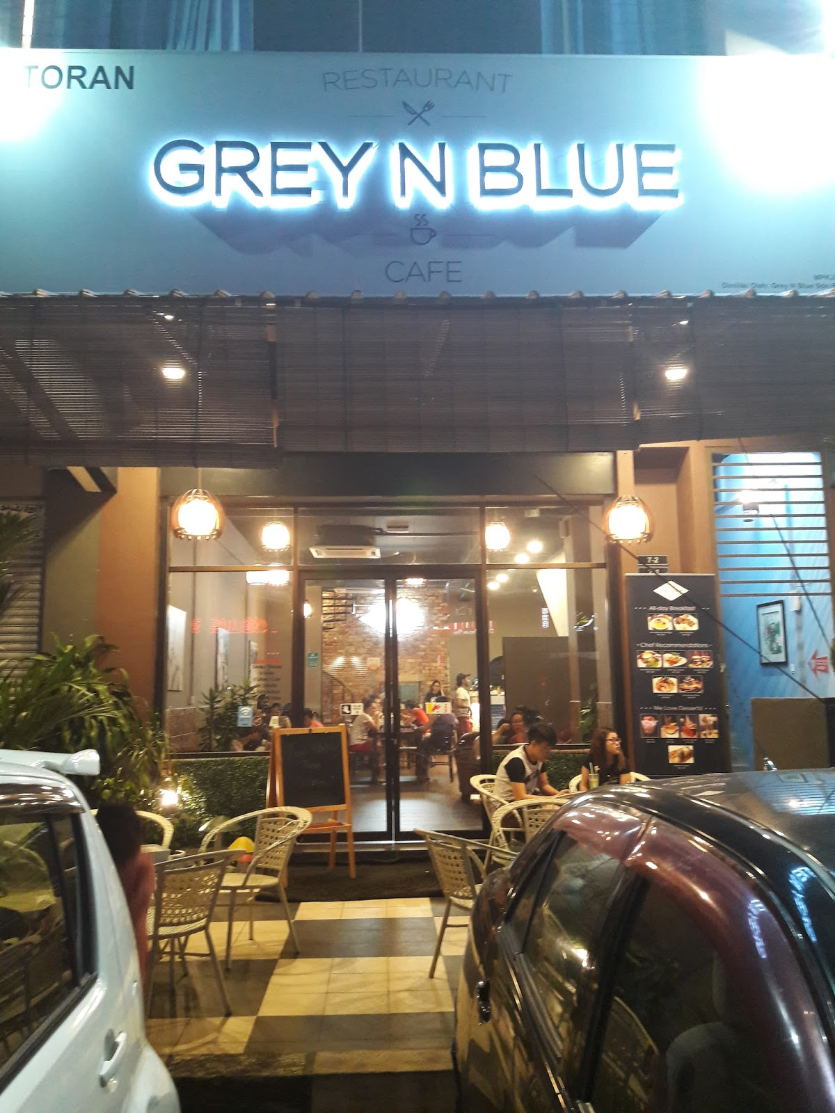 i was invited to grey n blue and i would recommend this restaurant if you want a nice and cozy restaurant with delicious food