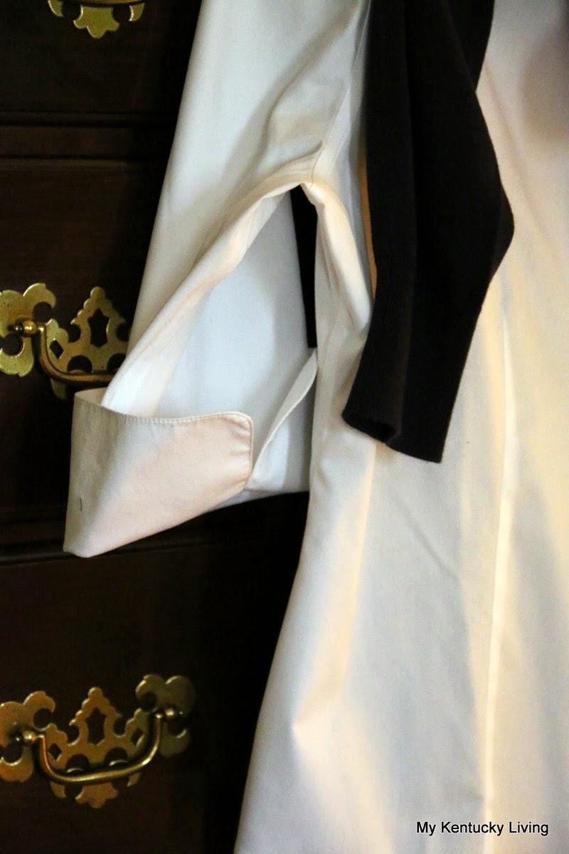 white shirt, pearls, cardigan