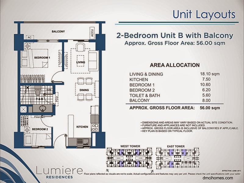 Lumiere Residences 2 Bedroom B 56.00 sqm