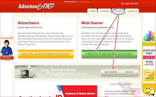 Panduan jadi Member (membuat akun) Adsense CAMP