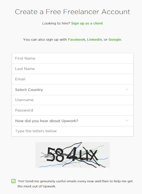 Upwork Registration procedure