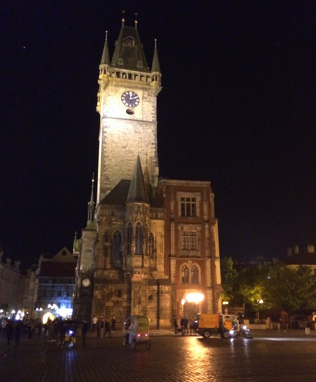 prague clock tower at night