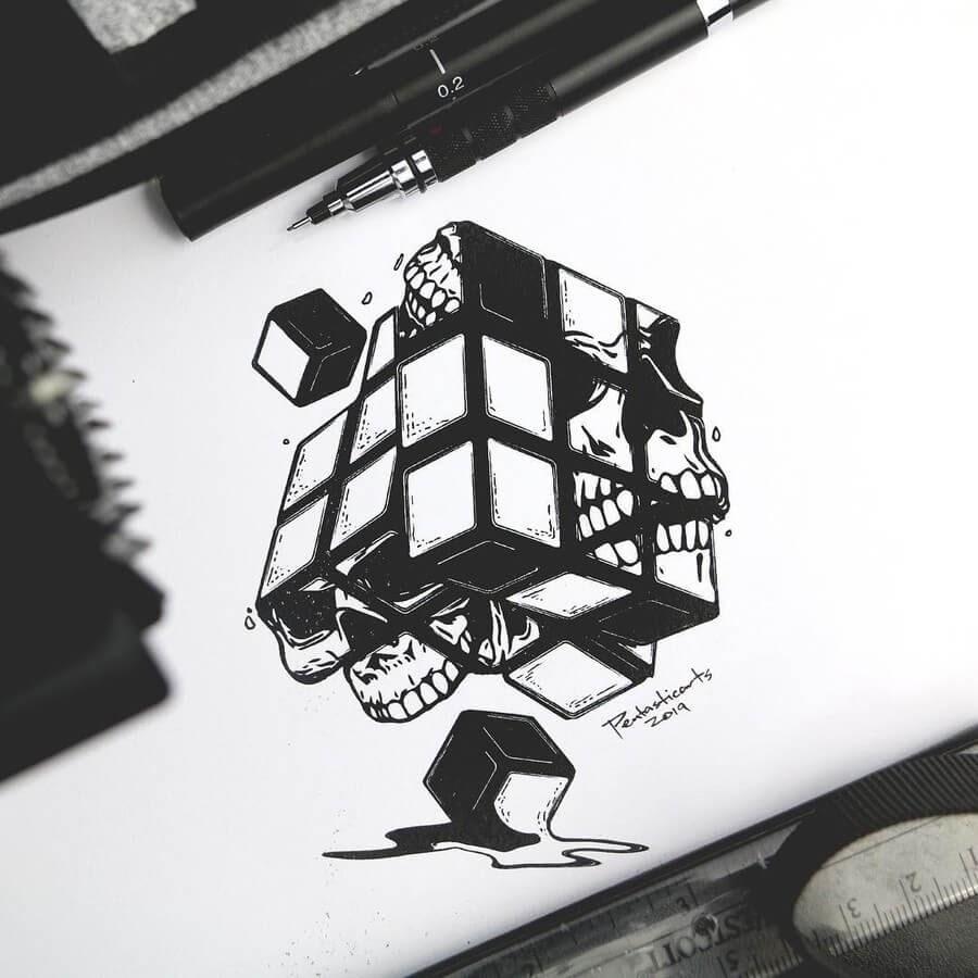 05-Rubik-s-Cube-Skull-Joseph-Catimbang-Ink-Drawings-in-Various-Styles-www-designstack-co