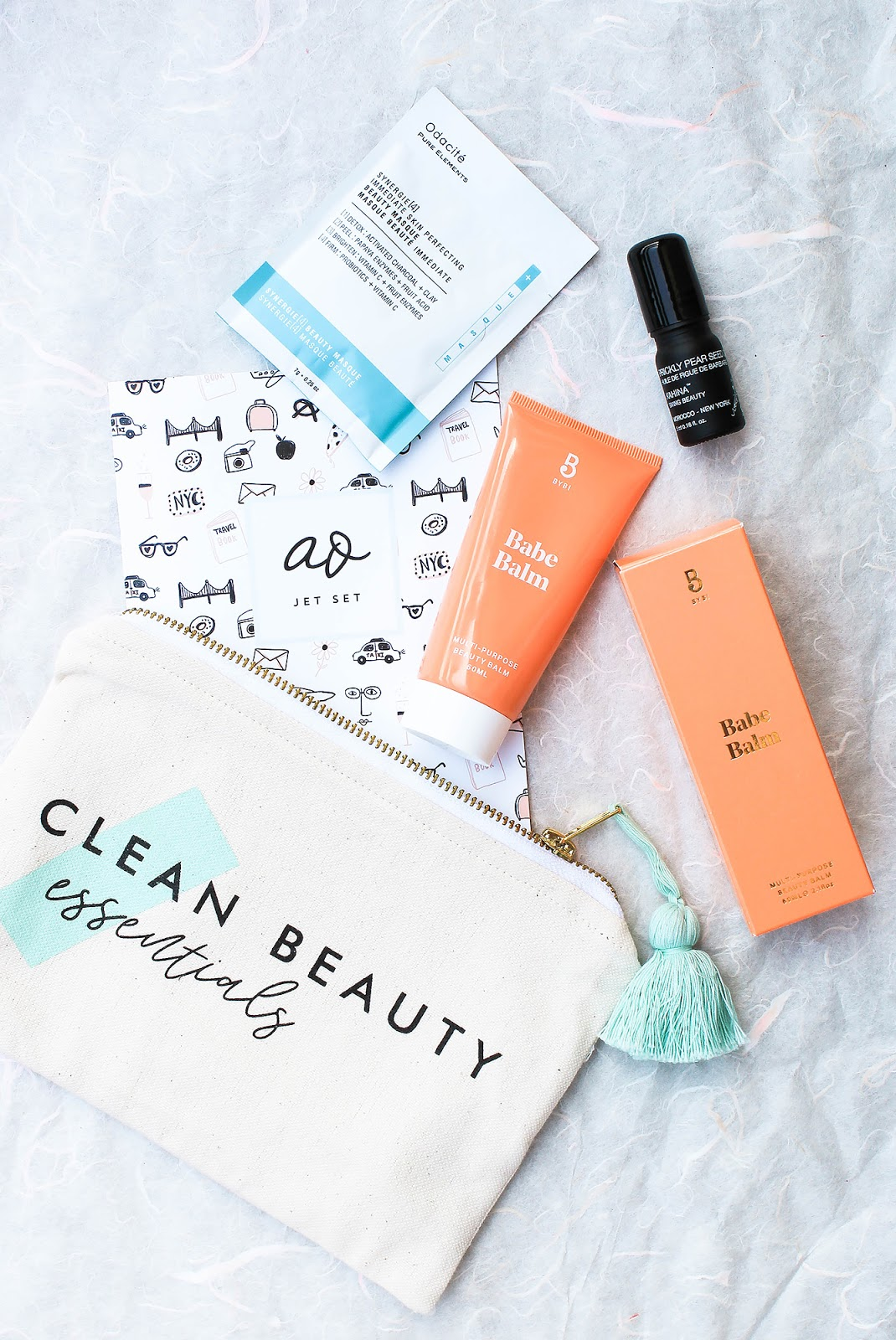 May Art of Organics Clean Beauty Box Clean Beauty Essentials. JET SET. Kahina Giving Beauty, Odacite, BYBI, Piece & Co.