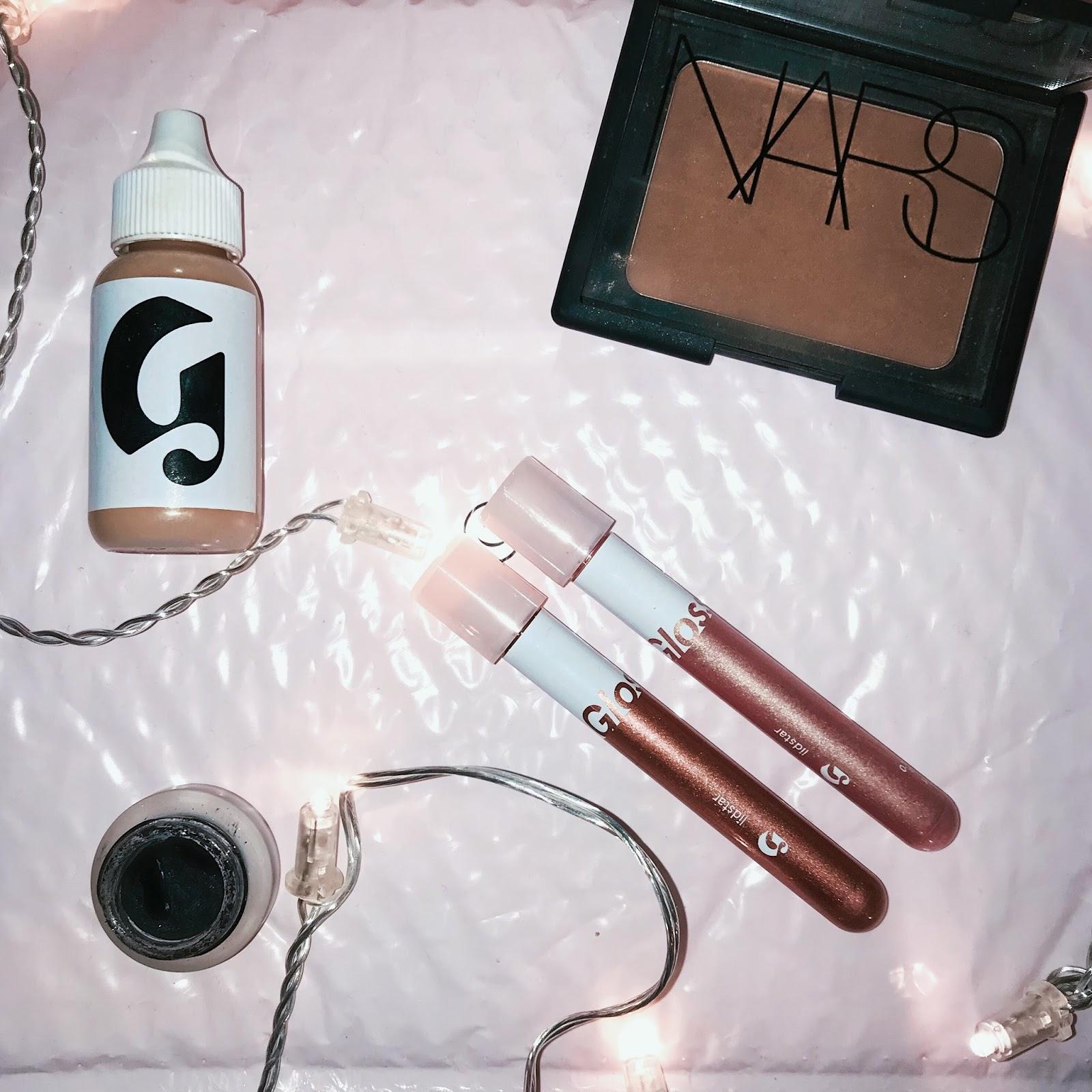 yasmin stefanie - glossier lidstar perfecting skin tint solution nars laguna maybelline gel eyeliner