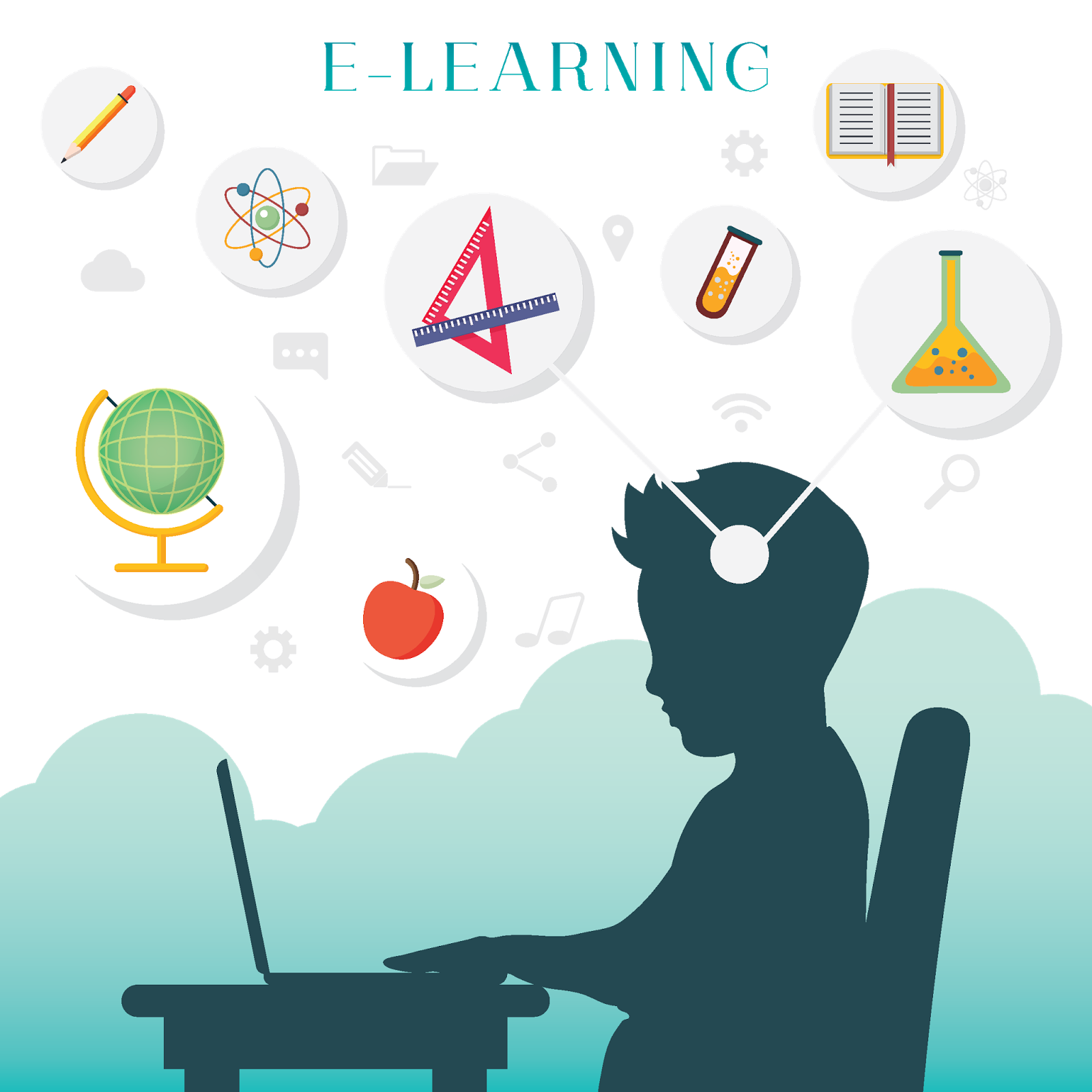 Silhouette of a boy with e learning concept