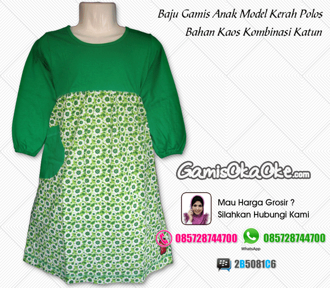 Baju gamis anak oka oke model terbaru warna hijau model kerah polos terbaru