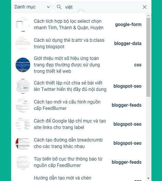 Thêm tính năng live search kết hợp bộ lọc label vào công cụ tìm kiếm trong Blogger
