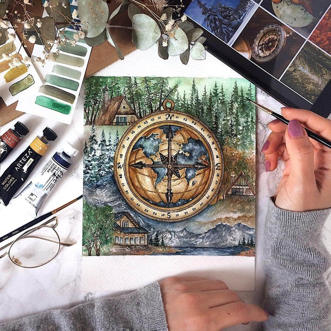 11-Compass-Navigating-in-the-Wild-Tiny-Watercolors-Compasses-Light-Bulbs-and-Trees-www-designstack-co