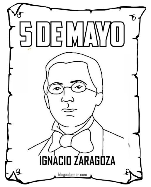 5 de mayo para niños Ignacio Zaragoza colorear