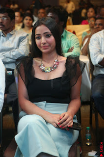 Swetha Basu in a Black Sleeveless Top Long Skirt at Mixture Potlam Movie Audio Launch 065.JPG