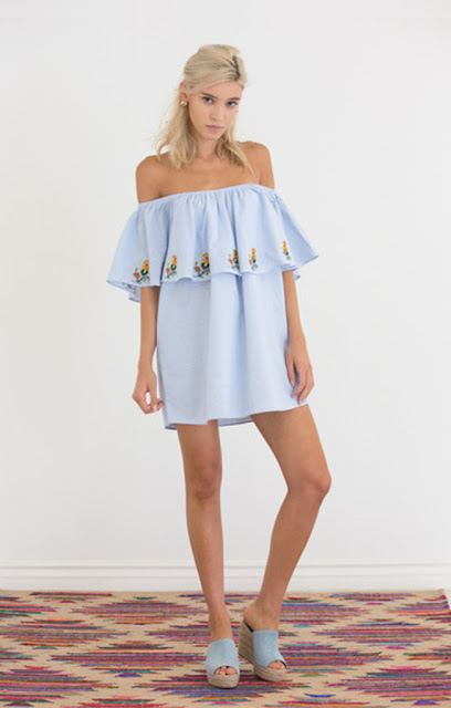 off the shoulder embroidered mini dress from Fitzroy Boutique
