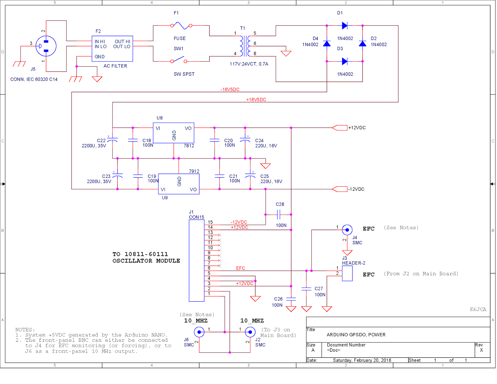 K6jca An Arduino Based Gps Disciplined Oscillator Schematic Diagram Circuit Software Download Notes On The Power Supply Page