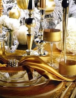 mesa navideña dorado plata