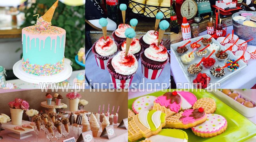 mesa decorada decoração bolo sorvete doces biscoitos  chocolate
