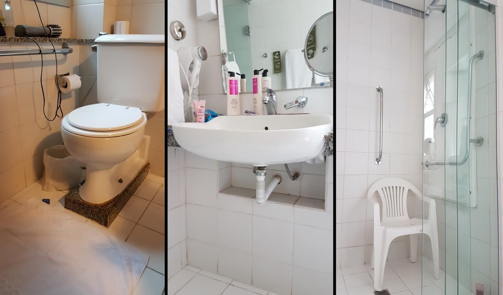 Detalhes do banheiro do vaso ao chuveiro. Bem adaptado mas longe do  #8C653F 1600x938 Banheiro Adaptado Com Chuveiro