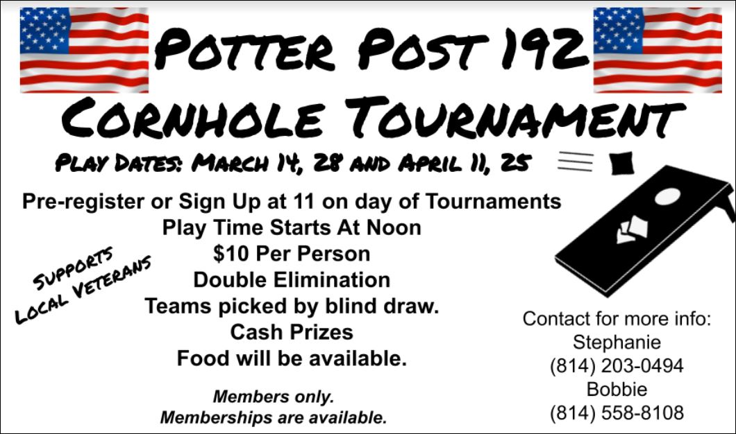 4-25 Cornhole Tournament At The Potter Post 192