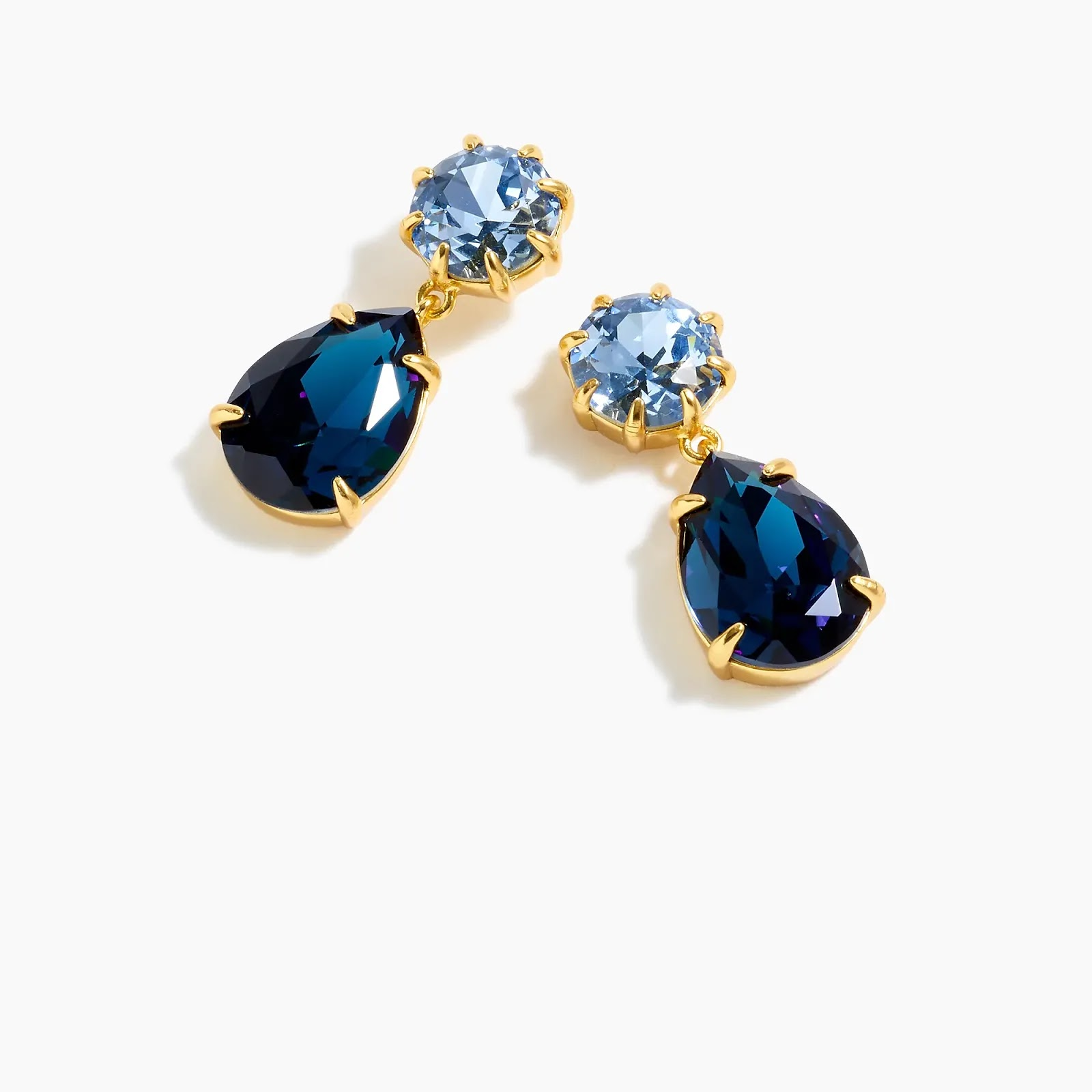 J Crew Calm Sea Blue Pear-shaped stone drop earrings - statement fashion blog