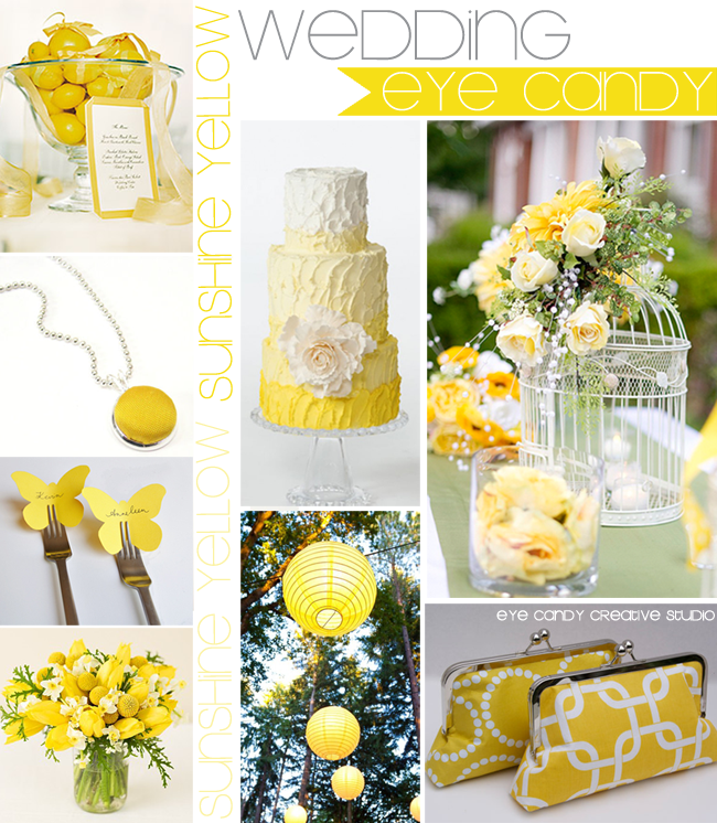wedding eye candy, yellow wedding, spring, paper lanterns, birdcage, yellow cake
