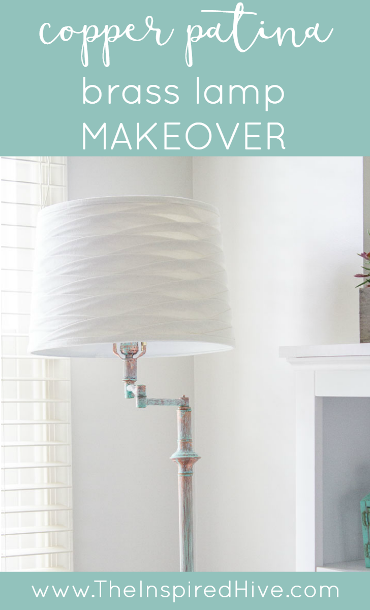 DIY Brass lamp makeover using a green patina