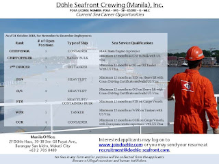 Urgent jobs seaman in Philippines crew join at container ship, bulk carrier ship, heavy lift cargo ship, oil tanker ship.