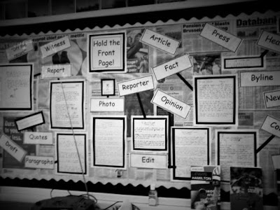 Classroom English wall display in black and white
