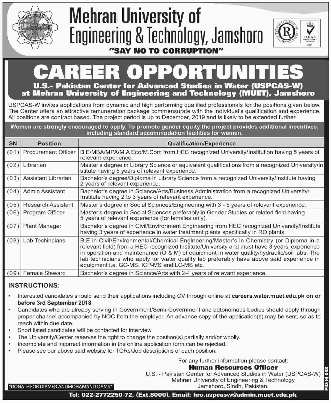 Nnew Jobs in Mehran University of Engineering & Technology