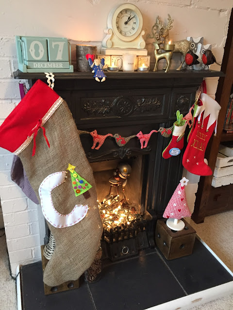 Mrs Bishop's festive fireplace