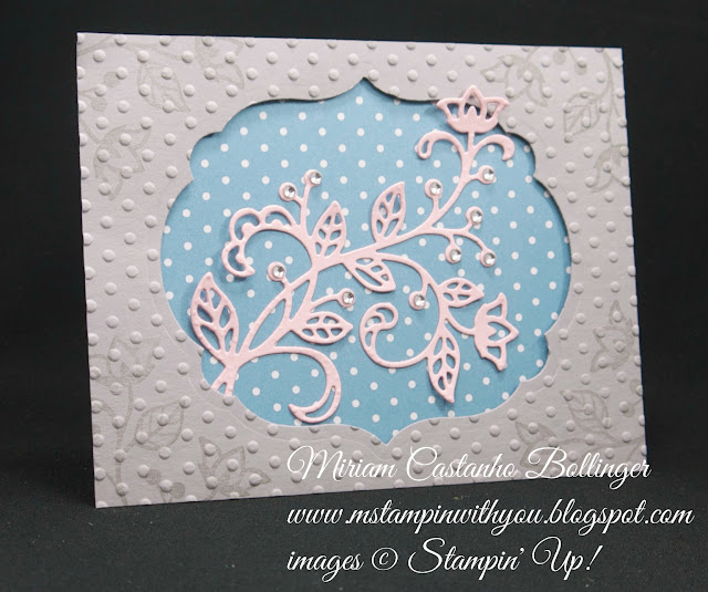 Miriam Castanho-Bollinger, #mstampinwithyou, stampin up, demosntrator, ppa, all occasions card, flourishing phrases stamp set, flourish thinlits, labels collection, big shot, perfect polka dot, su
