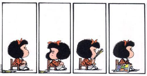 Personagem Mafalda em quatro tirinhas demonstrando tédio