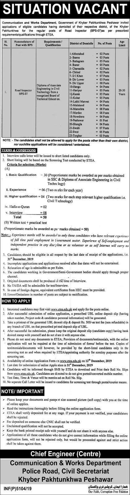 C and W KPK Jobs December 2019 (103 Posts)