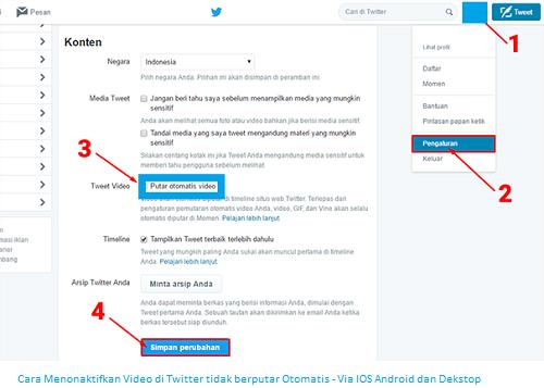 Cara Menonaktifkan Video di Twitter tidak berputar Otomatis - Via IOS Android dan Dekstop