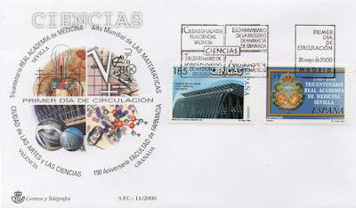Sobre Primer Día de Circulación del sello dedicado a la serie Ciencias del año 2000. Ciudad de las Artes y las Ciencias, Tricentenario de la Real Academia de Medicina de Sevilla