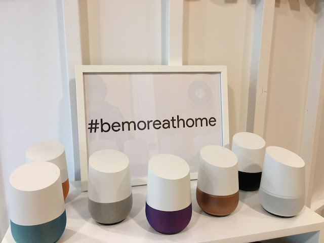 A collection of Google Home devices in different colours