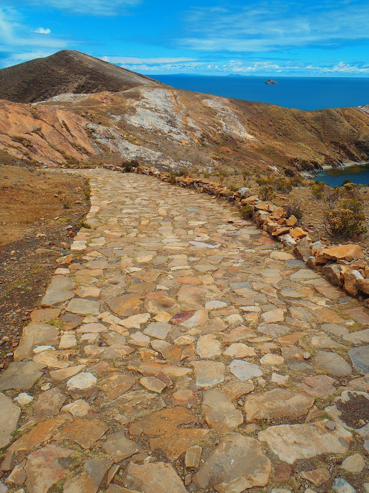 Stone path on Isla Del Sol Lake Titicaca