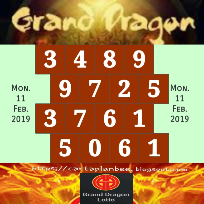 CARTA RAMALAN 4D: GD LOTTO FORECAST CHART (11-17/02/2019)