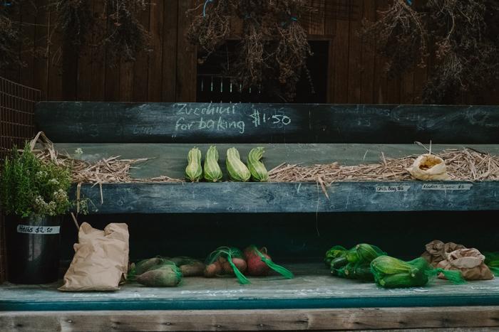 organic zucchini roadside stall