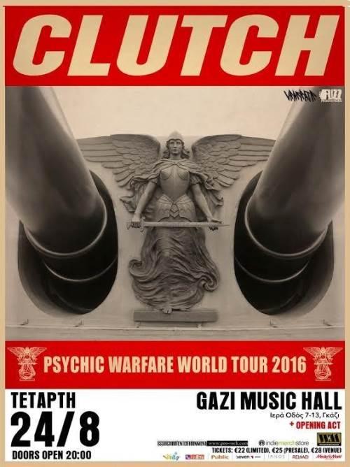 CLUTCH: Τετάρτη 24 Αυγούστου @ Gazi Music Hall