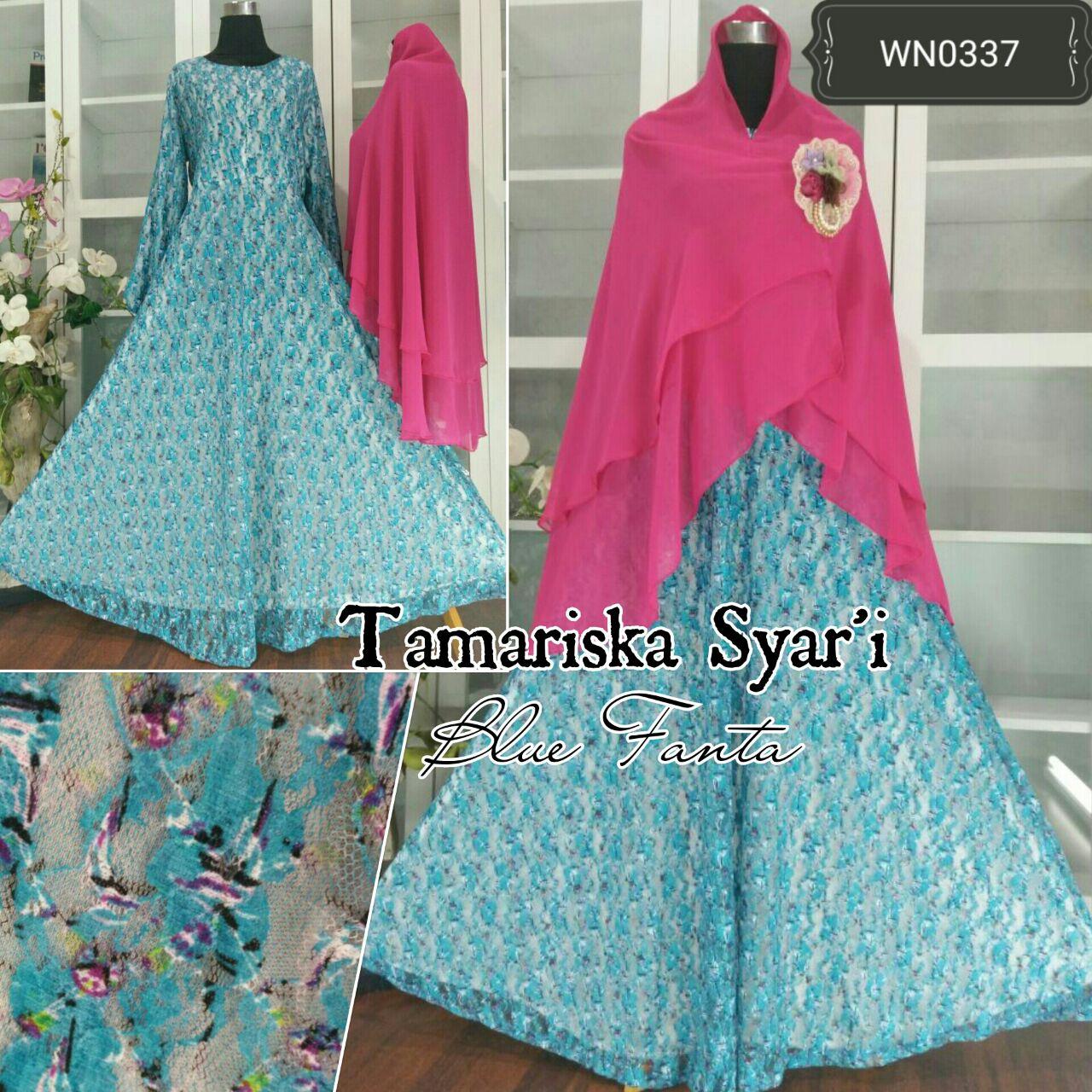 Ayuatariolshop Distributor Supplier Gamis Tangan Pertama Onlineshop Just Mom Baju Menyusui Lyra 101 Light Blue Flower Tamariska Syari Bruklat Muslim Hijabers