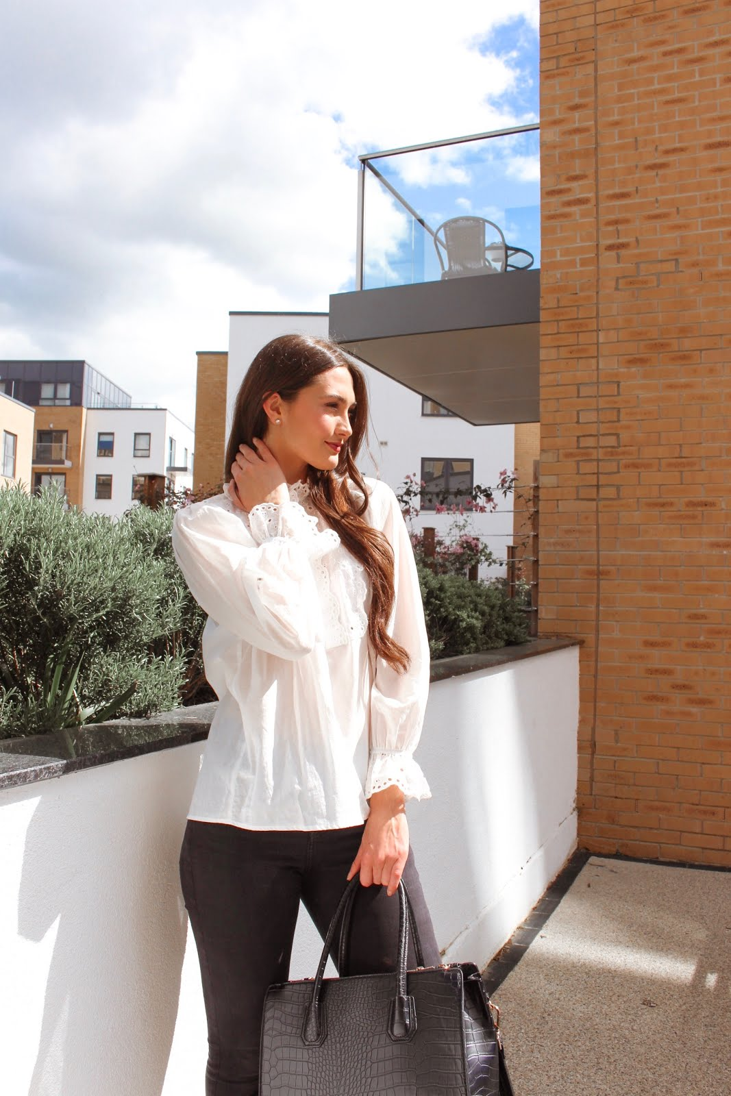 how to style the white blouse