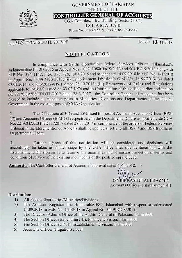 INCLUSION OF ALL ACCOUNTS POSTS IN MINISERIES, DIVISIONS AND DEPARTMENTS OF FEDERAL GOVERNMENT