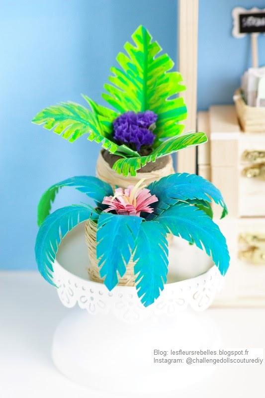 Plantes verte exotique et palmier en papier